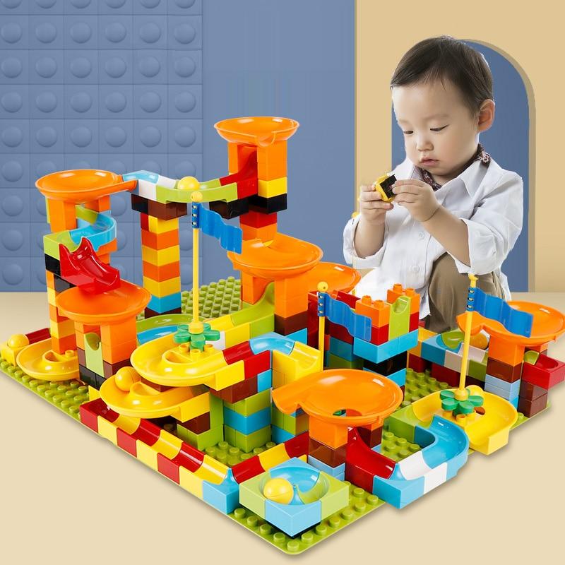 Large Particle Building Blocks Brick Marble Race Run Block 56 100pcs Duploe Funnel Slide Blocks DIY Bricks Children Toys|Blocks| |  - title=