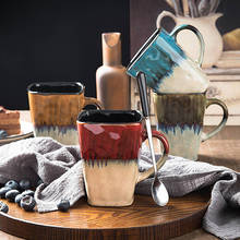 CPH.Retro personality square milk cup ceramic large capacity mark with spoon coffee household creative couple