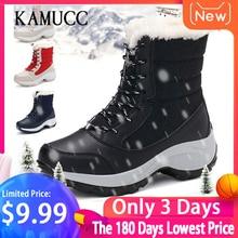 2019 Women Snow boots Waterproof Parent-Child Winter Boots Thick Fur Platform Non-slip and Warm Comfortable Shoe Plus Size 31-42 недорого