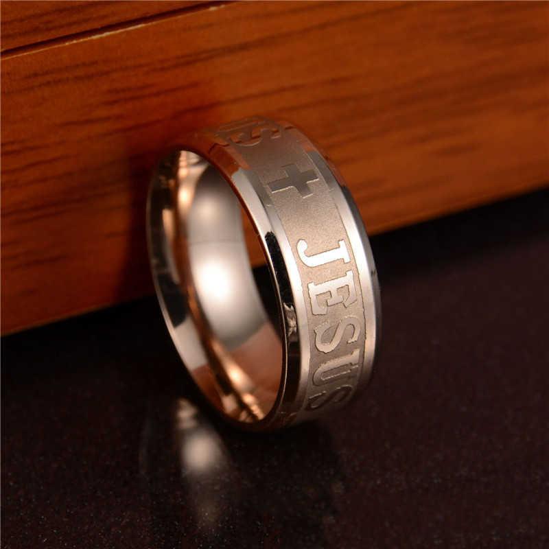 Nuevo anillo con letras cruzadas para hombre anillos de acero inoxidable para mujer Jesús par de anillos de compromiso para hombre anillo de boda de oro rosa para mujer Gi
