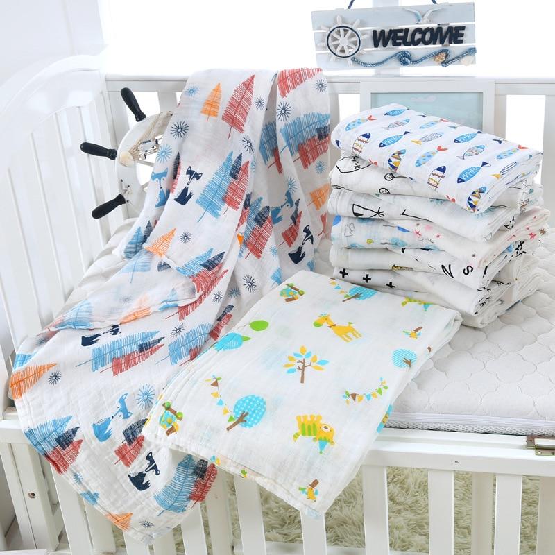 1Pc Muslin 120*110CM Cotton Baby Swaddles Soft Newborn Blankets Bath Gauze Infant Wrap Sleepsack Stroller Cover Play Mat