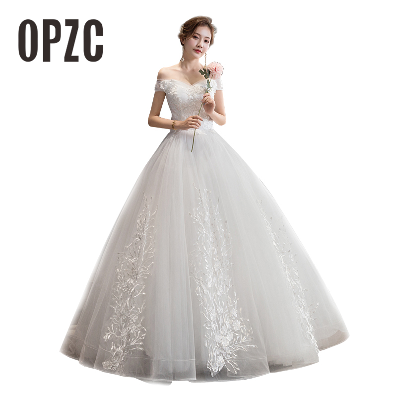 Cheap Lace Flowers Wedding Dresses Simple Elegant Wedding Gowns Bride Dress Boda Robe De Mariee V Neck Off Shoulder Sequined G0Z