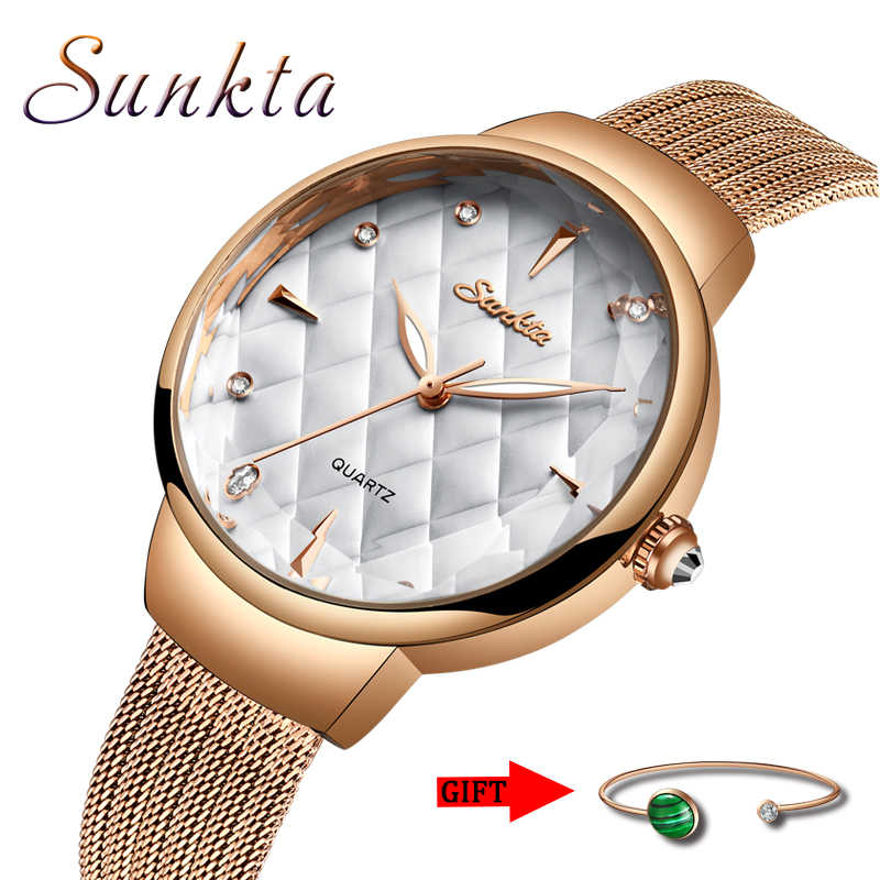 SUNKTA New Brand Luxury Watch Women Fashion Dress Quartz Wrist Watch Ladies Stainless Steel Waterproof Watches Montre Femme+Box