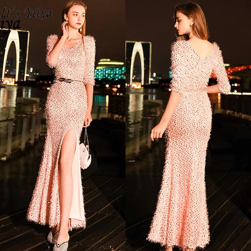 It's YiiYa Evening Dress 2019 Sexy V-neck Half Sleeve Split Trumpet Dresses Elegant Tassel Sequins Slim Robe De Soiree TR059