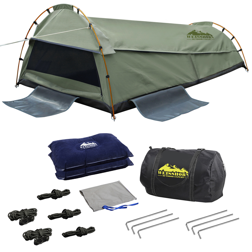 Quality & Durable Weisshorn Double Swag Camping Swag Canvas Tent - Celadon Waterproof UV Protection Camping Swag AU
