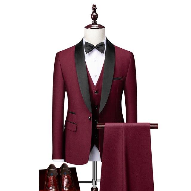 Men Skinny 3 Pieces Set Formal Slim Fit Tuxedo Prom Suit / Male Groom Wedding Blazers High Quality Dress Jacket Coat Pants Vest 4