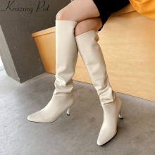 Zipper-Dress High-Boots Big-Size Pleated Knee Soft-Cow-Leather Winter L29 Superstar Patchwork