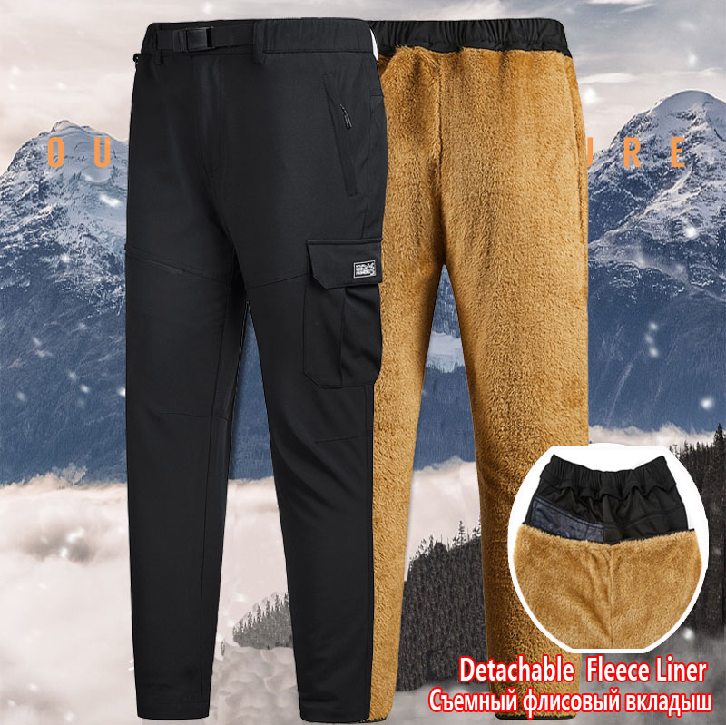 Winter Hiking Mens Cargo Pants Softshell Detachable Thick Fleece Liner Warm Trousers Multi Pocket Military Baggy Tactical Pants