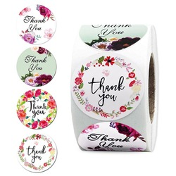 500pcs/roll Floral Thank You Designs Sticker Seal Labels XMAS Gift Decoration Party Favors Birthday Wedding Festival Supplies