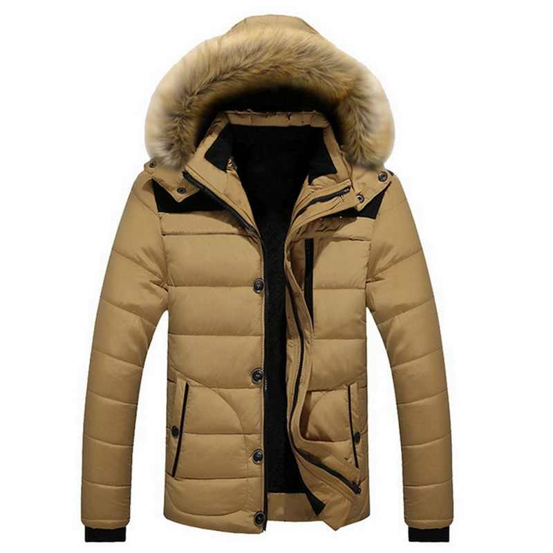 2019 Mens Fashion Winter Jacket Men Thick Casual Outwear Jackets Men's Fur Collar Windproof Parkas Plus Size Velvet Warm Coat