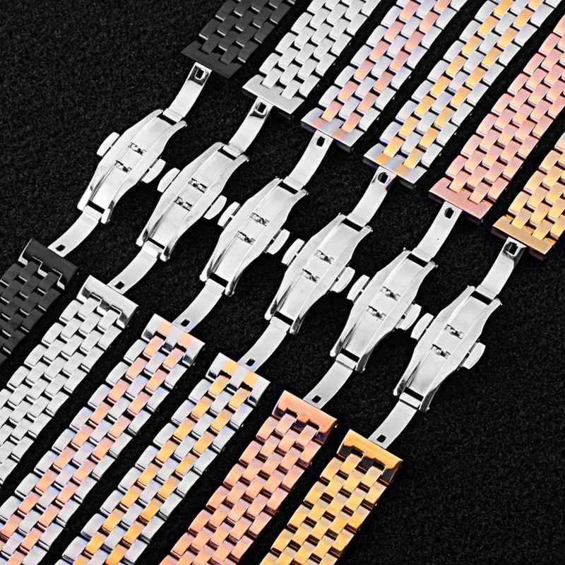 Durable Stainless Steel Band Watch Band 18mm 20mm 22mm Width Push Button Clasp Bracelet Wristband Wristwatch Strap Replacement