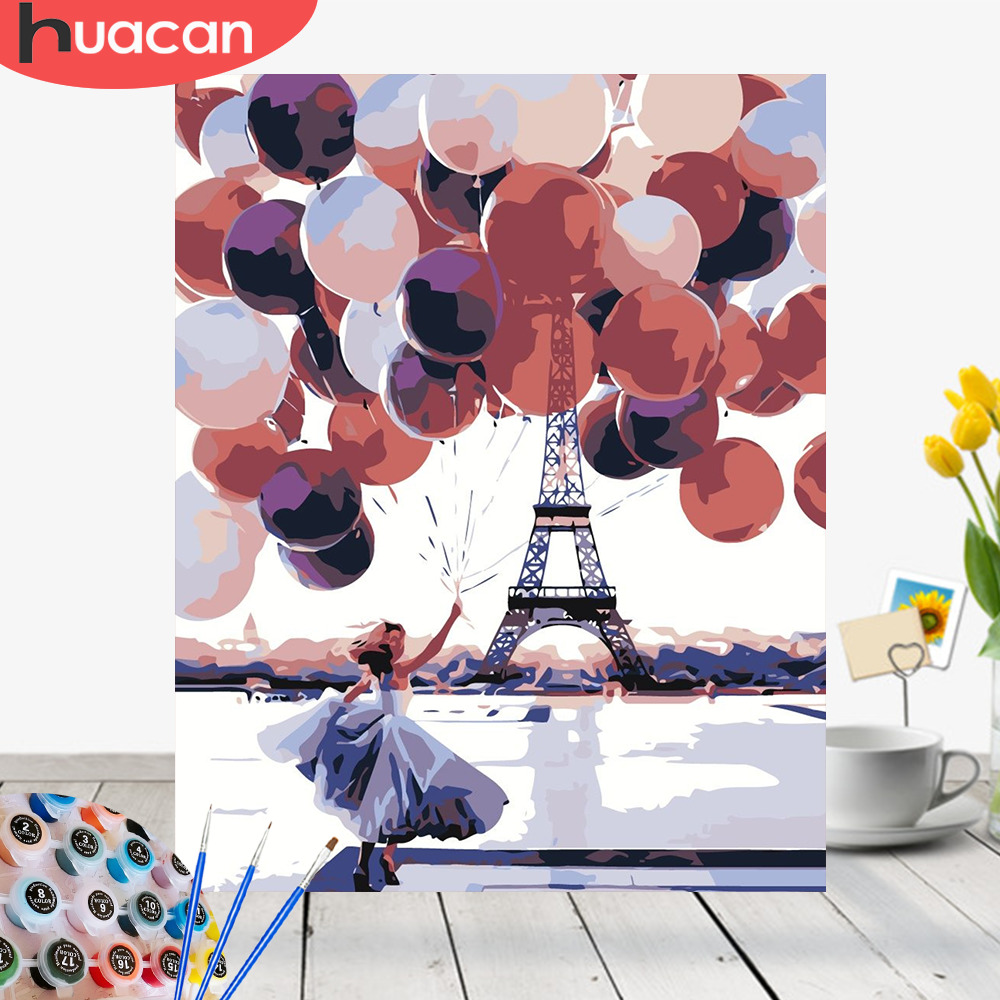 HUACAN Paint By Numbers Girls HandPainted Home Decor Kits Drawing Canvas Figure DIY Oil Painting Pictures By Numbers