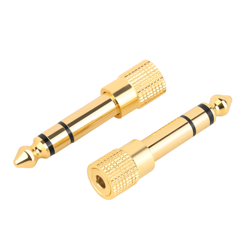Jack 6.35 mm 6.5 6.35mm Male Plug <font><b>to</b></font> 3.5mm Female Connector Amplifier Audio <font><b>Adapter</b></font> Microphone AUX <font><b>6.3</b></font> <font><b>3.5</b></font> mm Converter image