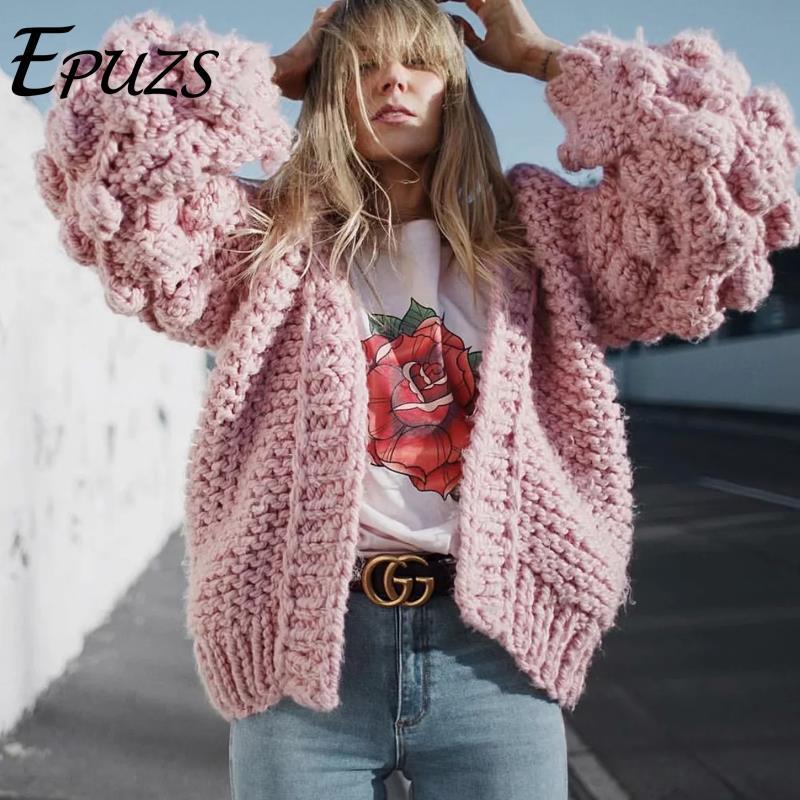 Automne hiver ball rose gris cardigan femmes hiver manteau 2019 mode coréenne wram à manches longues tricoté chandail streetwear vêtements