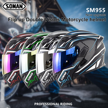 Full Face Kask Dual Lens Motorbike Helmets Detacha