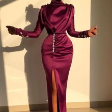 Celebrity-Dresses Evening-Gowns Satin Mermaid Long-Sleeve Party Formal High Wedding Guests