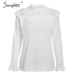 Image 4 - Simplee Women sweet hollow out ruffled shirts See through long sleeve Pleated blouse ladies spring cute white tops blusas 2020