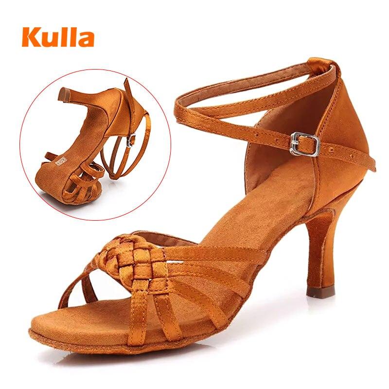 Latin Dance Shoes Woman Hite Satin Ladies Girl's Professional Dancing Shoes Jazz Ballroom Party Salsa Dance Shoes 5cm/7cm Heel