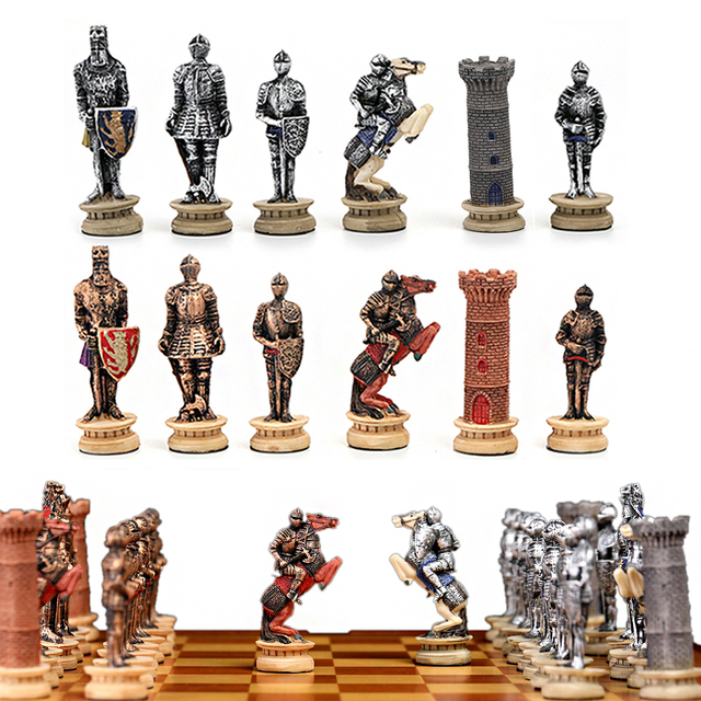 Buy Best Chess Set Middle Ages Knight Battle Theme Chess Set portable Traveling Intelligence Game Chess Set Luxury Themed Chess Checkers-