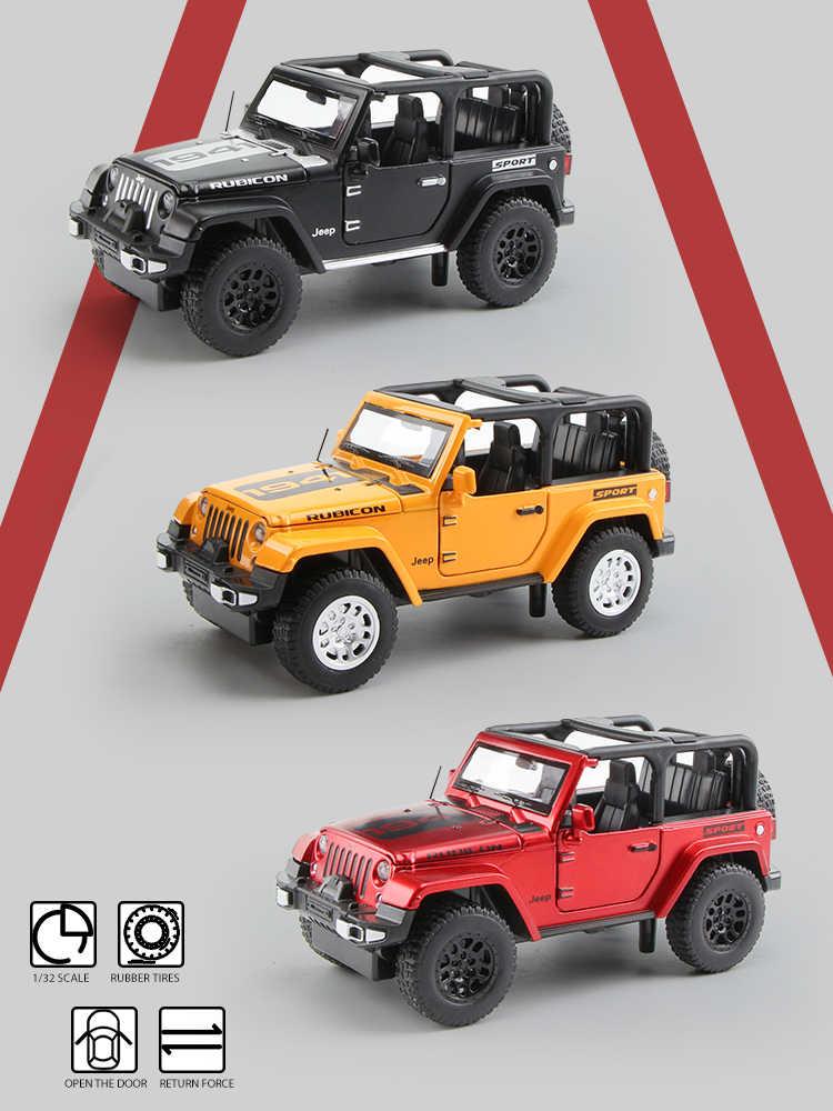 1:32 Jeep Wrangler Sahara Rubicon SUV Die Cast Modellauto Spielzeug Schwarz