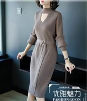 2019 Autumn winter New Big Size Women Knit Dress Long Sleeve O Neck Loose Sweater Dress Women dresses
