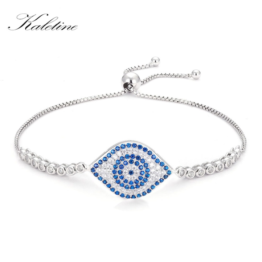 Blau-klares Zirkonia-Auge, Amulett, Armkette mit Slider   925 Armband 925 Armbänder Amulett