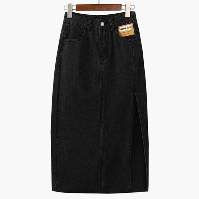 Женская джинсовая юбка с высокой талией 6