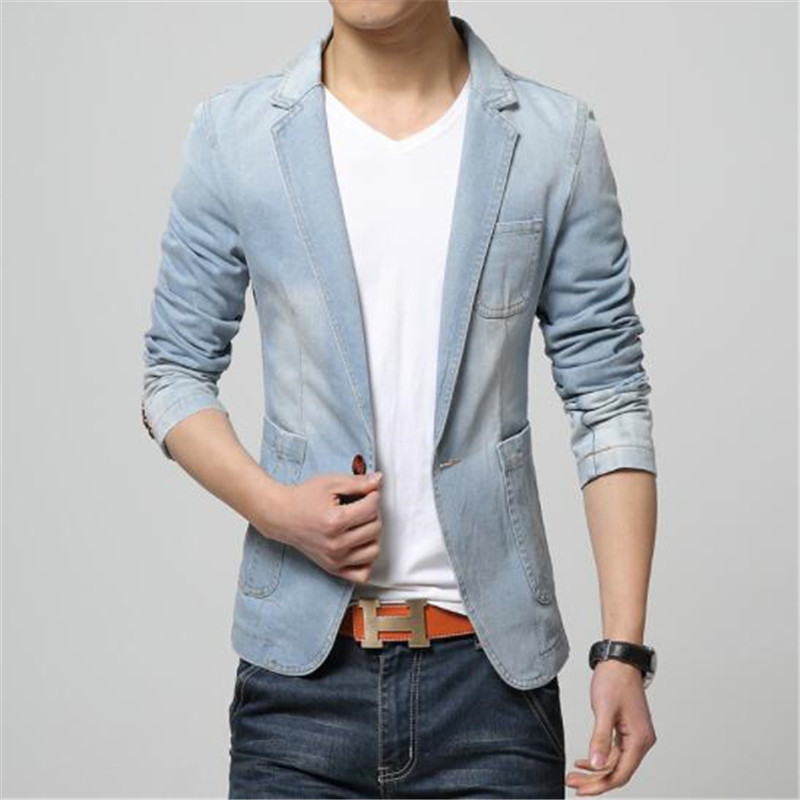 HOT 2019 New Spring Fashion Brand Men Blazer Men Trend Jeans Suits Casual Suit Jean Jacket Men Slim Fit Denim Jacket Suit Men