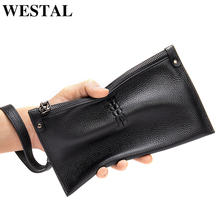 Purse Clutch-Bag Genuine-Leather Wallet Fashion Luxury Brand WESTAL Long Men for Male