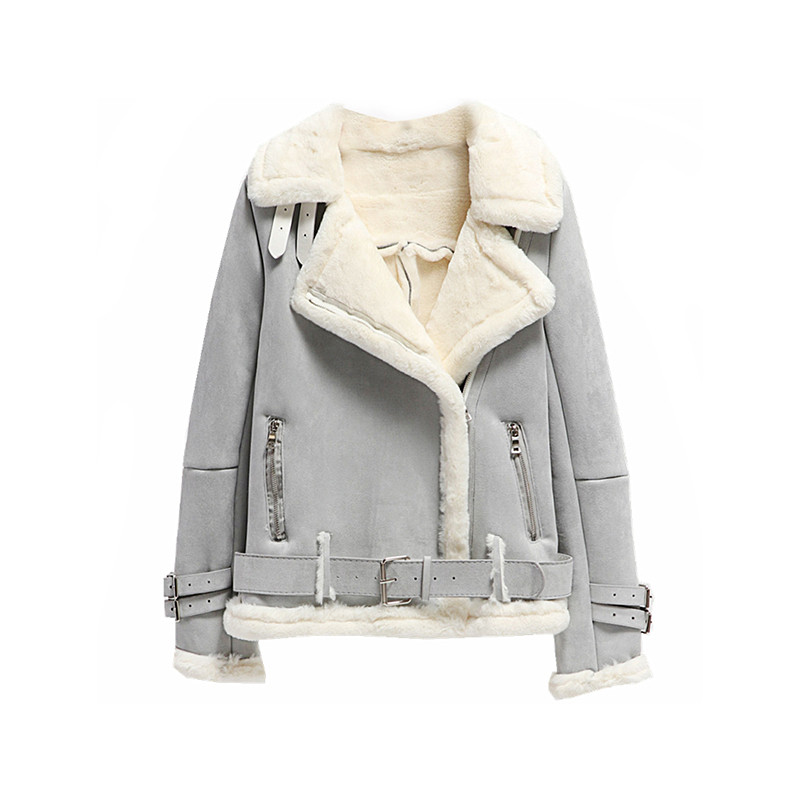 最終割引 秋女性ショートオートバイのジャケットスリム厚みスエードコート女性長袖ラムズウール Outwears Sanishroly