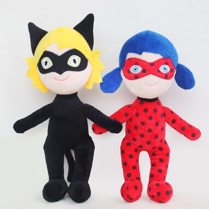 29cm Ladybug Girls Mask Cartoon Doll Super Cat Noir Figure Doll Baby Kids Plush Toys Christmas Gift