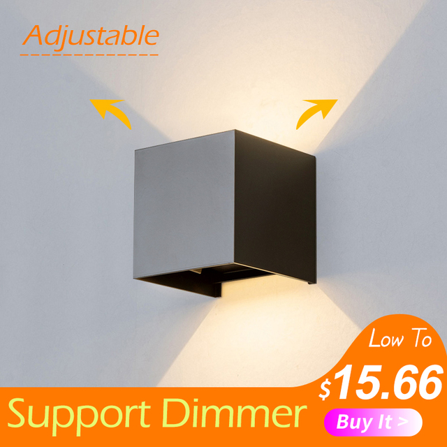 قابل للتعديل الجدار الخفيفة 6 واط LED داخلي في الهواء الطلق الألومنيوم الجدار الشمعدان سطح شنت مكعب الجدار الإضاءة خارج حديقة الجدار مصباح