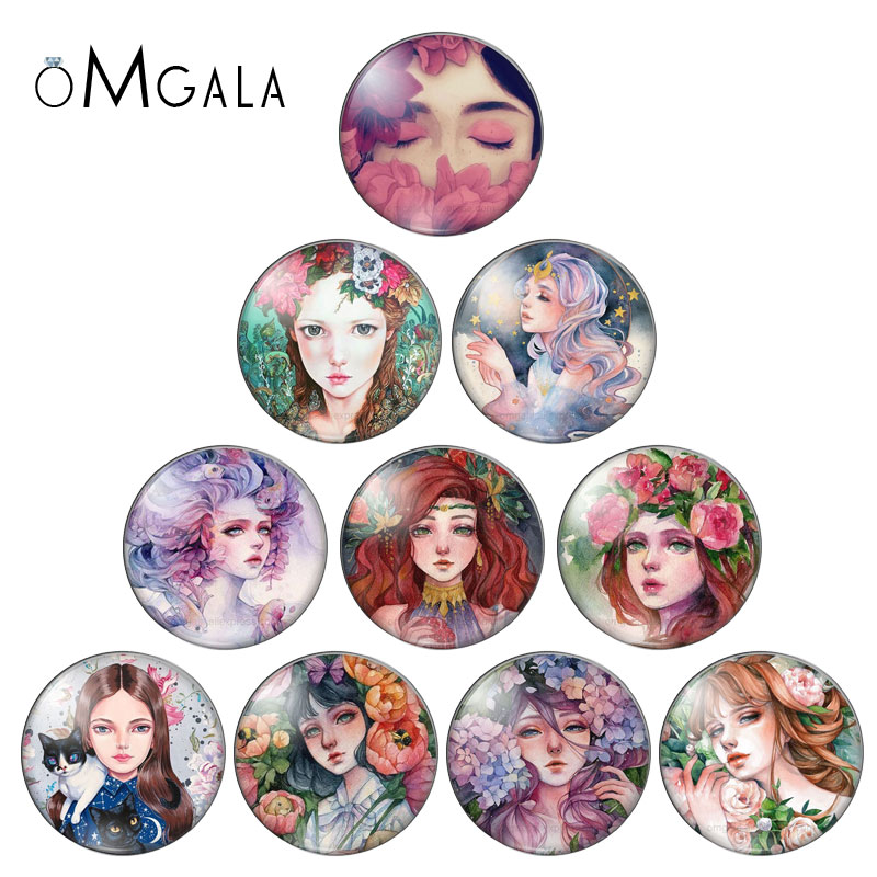 Comic Artist Painting Beauty Girls 10pcs Set 12mm/16mm/18mm/25mm Round Photo Glass Cabochon Demo Flat Back Making Findings