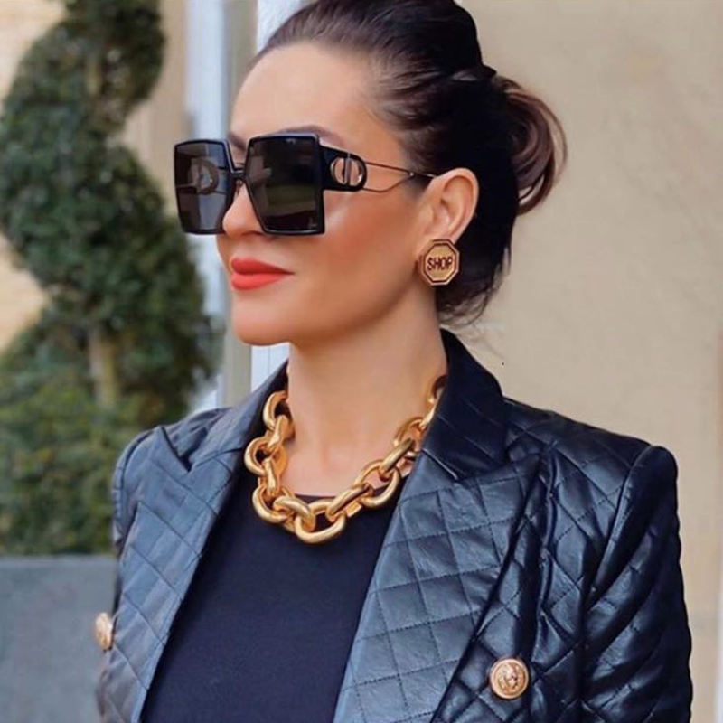 2020 Vintage Fashion Square Oversized Sunglasses Women Luxury Brand Design Elegant Goggle Big Frame Sun Glasses For Female UV400