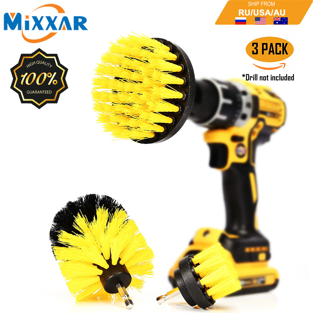 ZK20 Dropshipping 3pcs Power Drill Scrubber Brush Bathroom Surfaces Tub Shower Tile And Grout All Purpose Cleaning Kit
