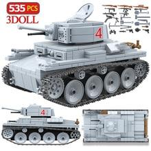 535 sztuk Technik LT 38 lekki zbiornik klocki wojskowe armii miasta figurki żołnierzy broń cegły chłopców zabawki dla dzieci