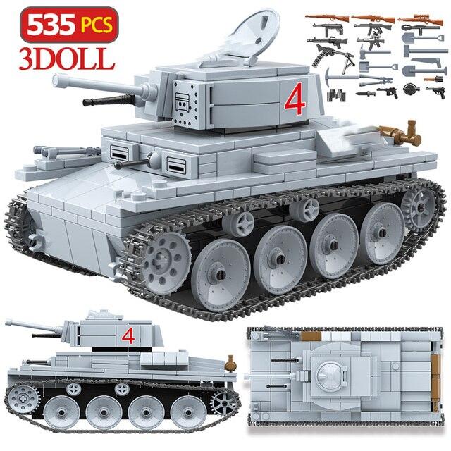 535 個 technik LT 38 ライト戦車ビルディングブロック軍事陸軍市兵士フィギュア武器レンガ男の子のおもちゃ子供