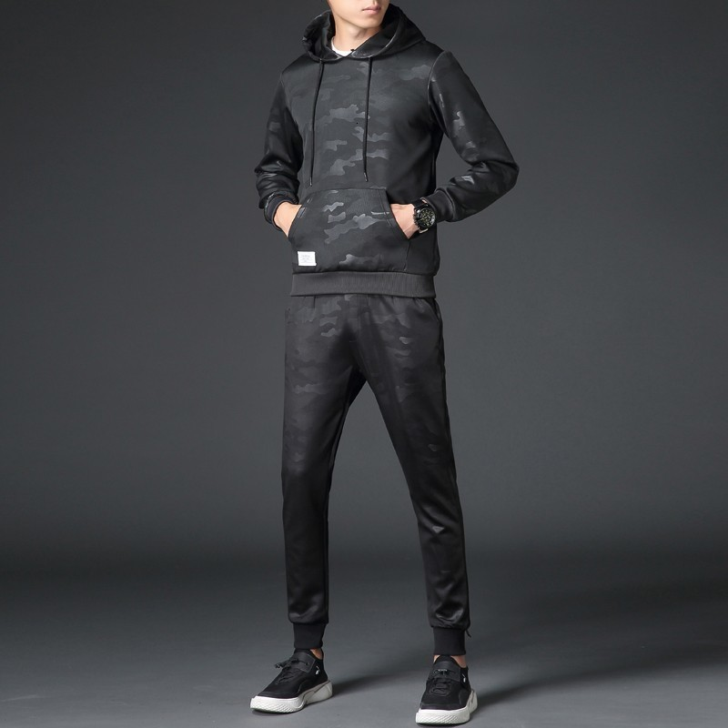 2020 New Camouflage Printed Mens Tracksuit Hooded Sweatshirt Full Length Pants Suit Two Piece Set Comfort Casual Streetwear