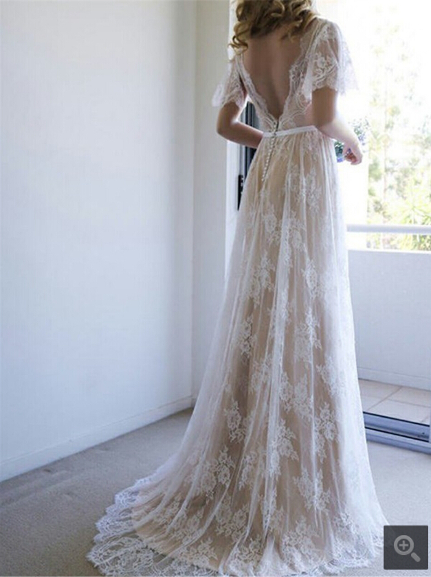 2019 New Arrival Champagne Lace A Line V Neck Summer Beach Wedding Dress Short Sleeve Bohemian Puffy Sleeve Bride Gowns