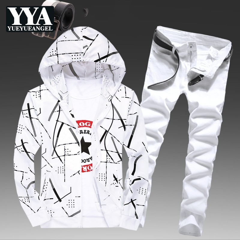 Mens Spring Hooded Sweatshirt Two Piece Set Striped Printed Jeans Causal Tracksuit Slim Fit Jogging Homme Suit Survetement Sets