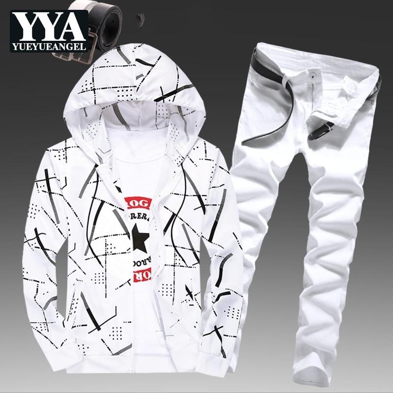 Mens Spring Hooded Sweatshirt Two Piece Set Striped Printed Jeans Causal Tracksuit Slim Fit Jogging Homme Suit Survetement Sets