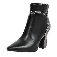 Kadın dikiş serpantin botları Womrn deri sivri burun kalın topuk ayakkabı kadınlar için fermuar yılan dikiş yarım çizmeler