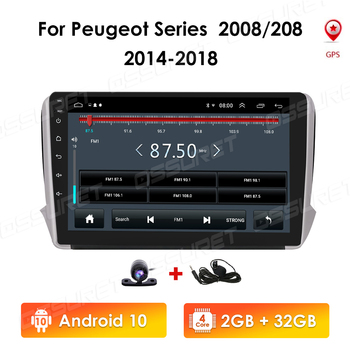 2 din Car Radio Android 10 RAM 2GB ROM 32GB Autoradio Multimedia Player for Peugeot Series 2008 208 2014-2018 RDS MIC SWC DVR 4G image