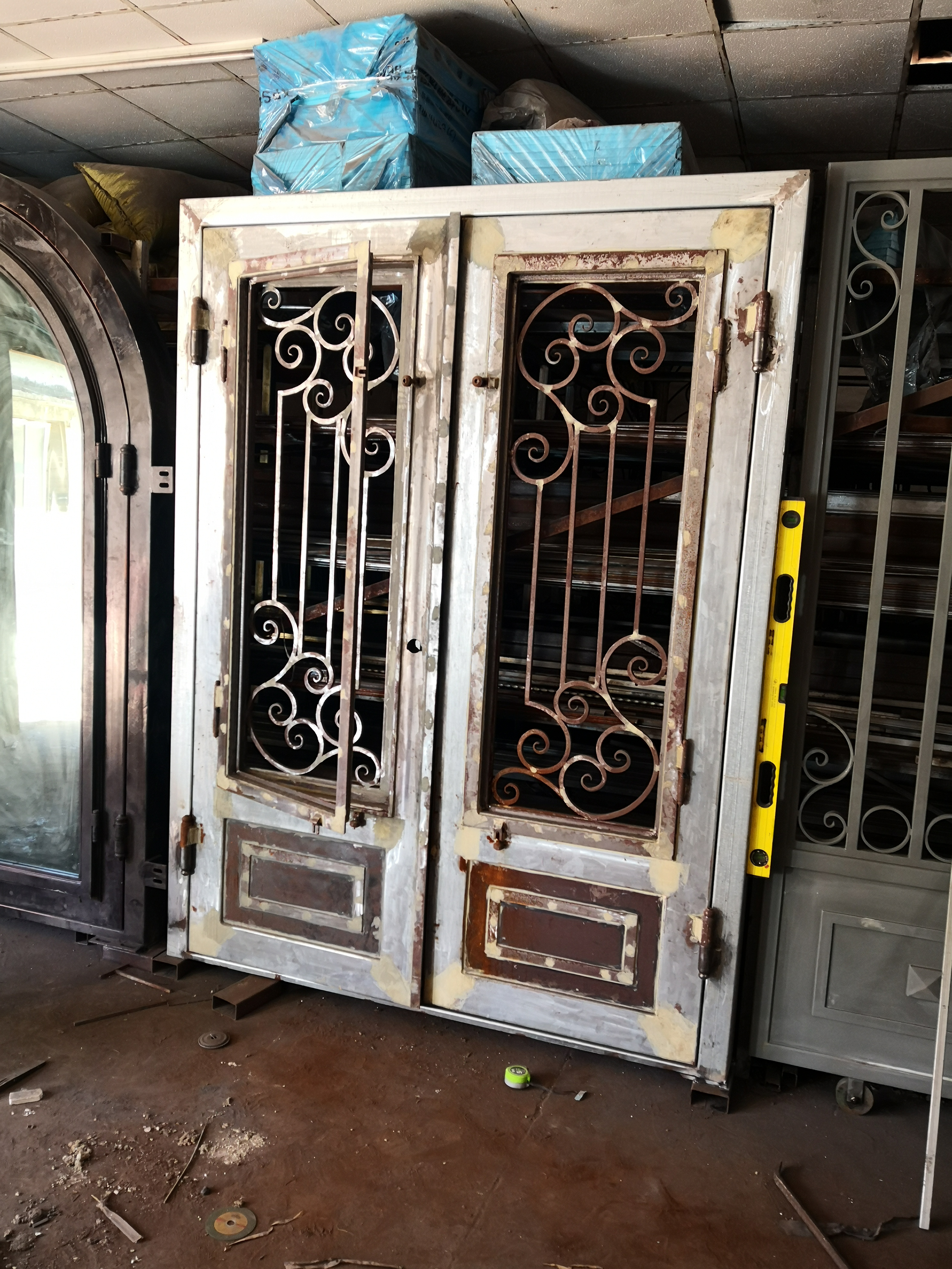 Shanghai Hench Brand China Factory 100% Custom Made Sale Australia Double Front Doors With Glass And Wrought Iron