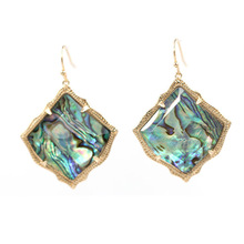 2020 Hot Selling Cute Kite Shape Abalone Inaly Cooper Dangle Earrings AB Clear Crystal Stone Inaly Drop Earrings Women Jewelry large faceted kite shape pearl stone inaly cooper dangle earrings ab clear crystal stone inaly drop earrings women jewelry
