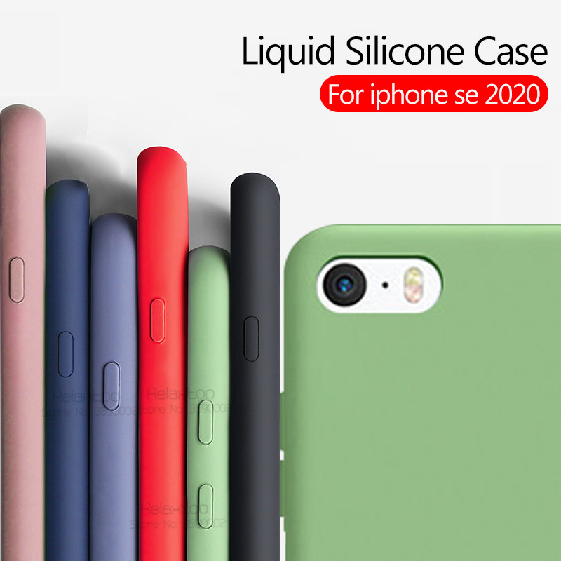 For iPhone SE 2020 Case Soft Silicone Liquid Candy Colors Anti-Scratch Matte TPU Cover For iPhone SE2 se 2 Case 4.7'' Slim funda