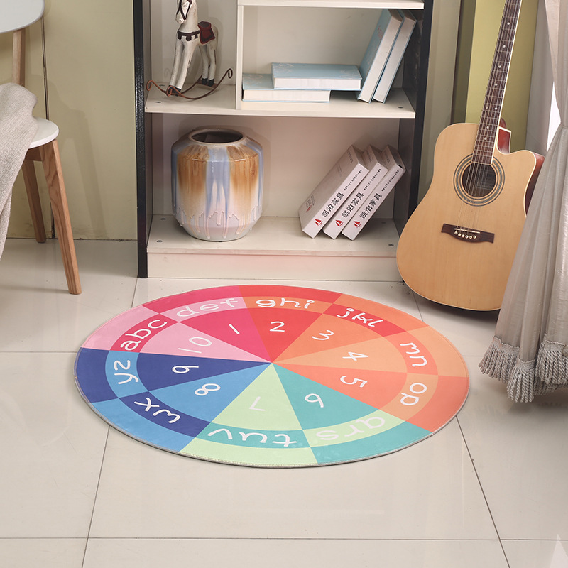 Cercle 3D tapis dessin animé teint tapis enfants salon chambre ordinateur chaise tapis épais