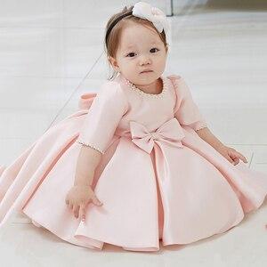 И бантом с Бусиной, юбка-1 лет, платья на день рождения, Платье для крещения для маленьких девочек Рождественские костюмы для новорожденных; ...