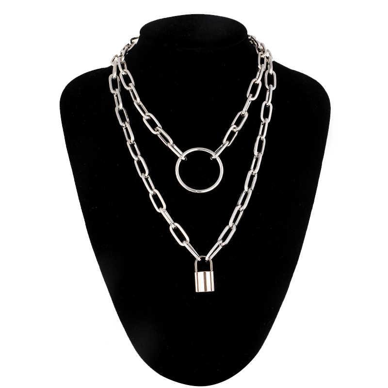 Warstwy materiały blokady łańcucha naszyjnik punk łańcuch srebrny kłódka wisiorek naszyjnik kobiety moda gotycka biżuteria goth akcesoria