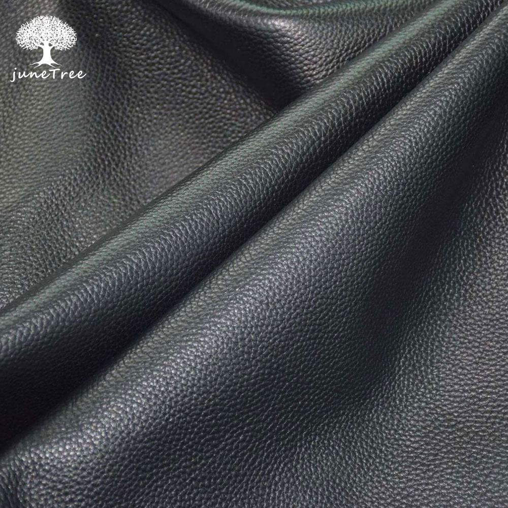 Soft leather black thick 1.4-1.6 mm the first layer genuine leather emboss raw sofa bag material leather DIY cow hide skin image